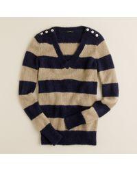 J.Crew | Blue Wynter V-neck Sweater in Stripe | Lyst