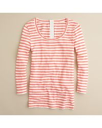 J.Crew | Orange Painter Zip Tee in Stripe | Lyst