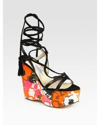 Jimmy Choo | Multicolor Pearl Wedge Sandal | Lyst