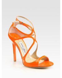 Jimmy Choo | Orange Sandal Heels | Lyst