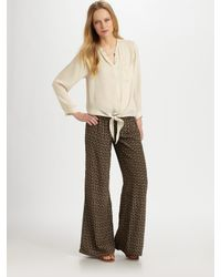 Joie | Natural Charleen Owl-Print Silk Flare-Leg Pants | Lyst