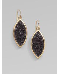 Kara Ross - Black Drusy Quartz Drop Earrings - Lyst