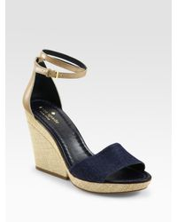 kate spade new york | Blue Wedge Sandals | Lyst