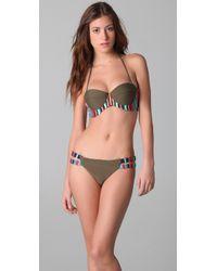 Mara Hoffman | Green Embroidered Bustier Bikini | Lyst