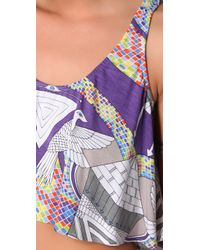 Mara Hoffman | Purple Swimwear Printed Half Top | Lyst