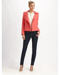 MILLY | Pink Double-Breasted Peacoat | Lyst
