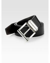 Prada | Black Calfskin Leather Belt for Men | Lyst