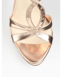 Prada - Metallic Platform Sandals - Lyst