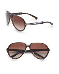 Prada   Brown Acetate Aviator Sunglasses for Men   Lyst