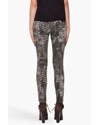 Rag & Bone | Green Midrise Feather Print Skinny Jeans | Lyst