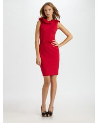 RED Valentino | Red Ruffled Jersey Dress | Lyst
