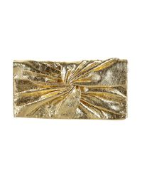 TOPSHOP | Metallic Gold Twist Leather Purse | Lyst