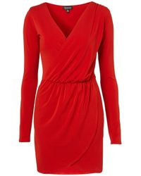 TOPSHOP   Red Moss Crepe Drape Dress   Lyst