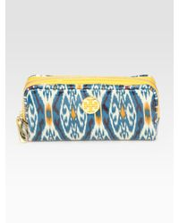 Tory Burch | Blue Coated Poplin Cosmetic Bag | Lyst