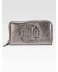 Tory Burch - Metallic Stacked Logo Continental Wallet - Lyst