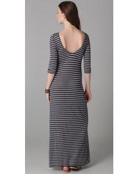 Velvet By Graham & Spencer | Blue Yuelle Heather Grey Stripe Maxi Dress | Lyst