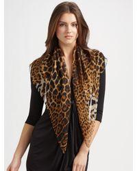 Saint Laurent   Gray Silk Leopard Print Scarf   Lyst