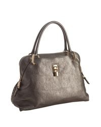 Marc Jacobs | Metallic Pewter Crackle Finish Lambskin Paradise Rio Medium Top Handle Bag | Lyst