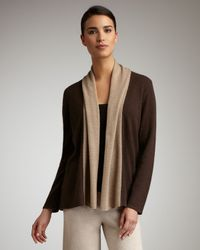 Neiman Marcus | Open Cashmere Cardigan, Brown/taupe | Lyst