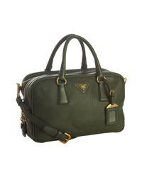 Prada | Green Pebbled Deerskin Convertible Bauletto Bag | Lyst
