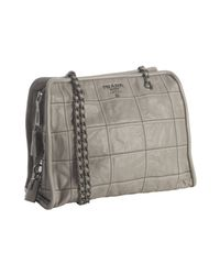 Prada | Gray Pumice Stitched Leather Chain Handle Bag | Lyst