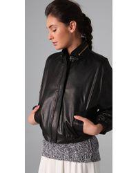 A.L.C. - Black Noah Leather Bomber Jacket - Lyst