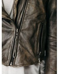 Free People - Gray Distressed Bike Jacket - Lyst