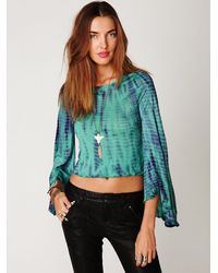 Free People | Green Ashbury Bell Sleeve Tee | Lyst