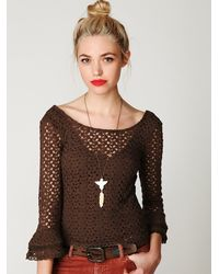 Free People | Green Crochet Bell Sleeve Top | Lyst