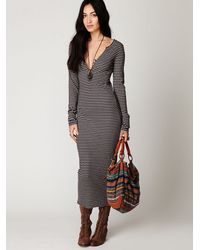 Free People | Purple Costas Striped Maxi Dress | Lyst