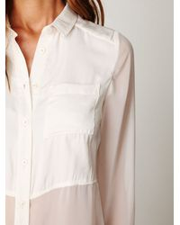 Free People | White Sheer Buttondown Tunic | Lyst