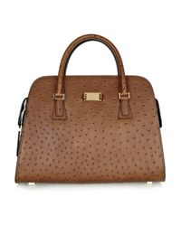 Michael Kors - Brown Gia Ostrich-Effect Leather Tote - Lyst