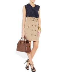 Michael Kors | Brown Gia Ostrich-Effect Leather Tote | Lyst
