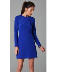 Tibi - Blue Long Sleeve Dress with Cutout Back - Lyst