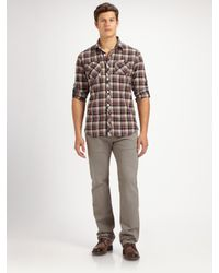7 For All Mankind - Gray Standard Worn Grey Chino for Men - Lyst