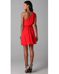 Alice + Olivia - Red Mila Pleated One Shoulder Dress - Lyst