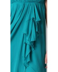 Alice + Olivia | Blue Faux Wrap Drape Dress | Lyst