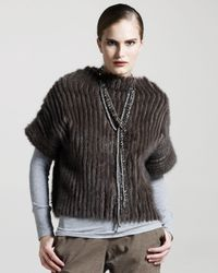 Brunello Cucinelli | Brown Shirred Mink Pullover | Lyst