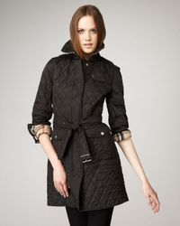 Burberry Brit | Black Long Quilted Jacket | Lyst