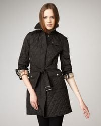 Burberry Brit - Black Long Quilted Jacket - Lyst