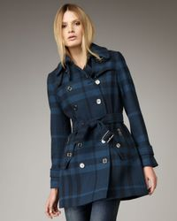 Burberry Brit - Blue Double-breasted Check Coat - Lyst
