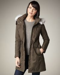 Dawn Levy - Green Anna Fur-trim Coat - Lyst