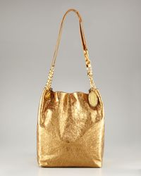 Elie Tahari | Tinsley Metallic Gold Chain Strap Tote | Lyst