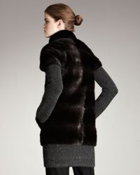 Fendi - Gray Fur & Knit Coat - Lyst