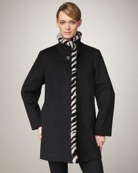 Fleurette | Black Fur-trim Coat | Lyst