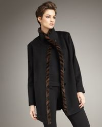 Fleurette | Black Spiral Fur-trim Funnel Coat | Lyst