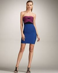 Hervé Léger | Blue Strapless Colorblock Bandage Dress | Lyst