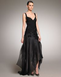 Hervé Léger | Black Taffeta-bottom Bandage Gown | Lyst