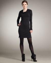 James Perse - Black Cowl-neck Sweatshirt Dress - Lyst
