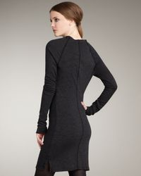 James Perse | Black Cowl-neck Sweatshirt Dress | Lyst